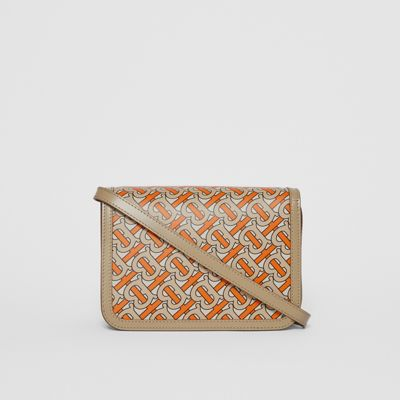 Small Monogram Print Leather TB Bag in Bright Orange Women   Burberry United States