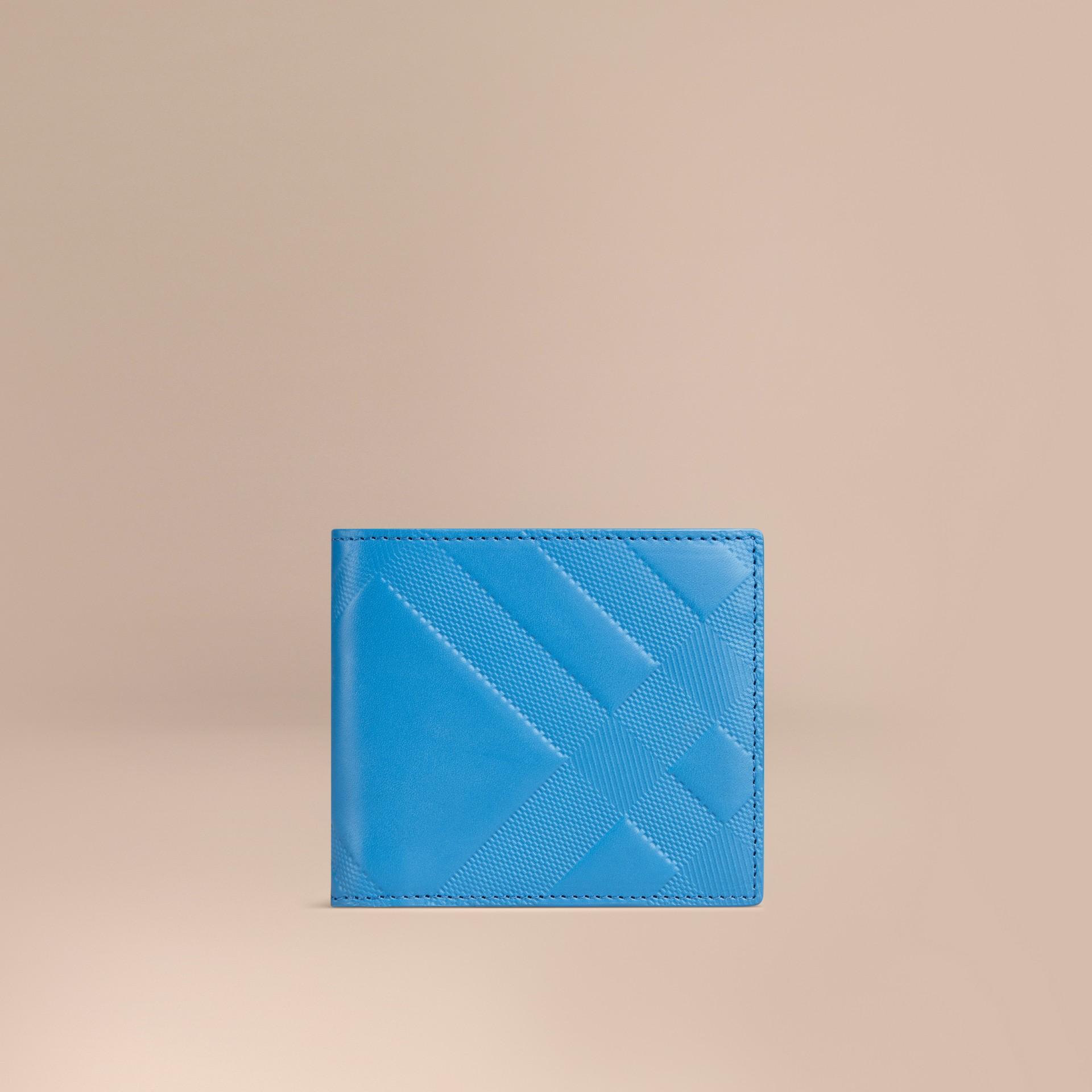 Лазурно-синий Складной бумажник из кожи с тиснением Лазурно-синий - изображение 1
