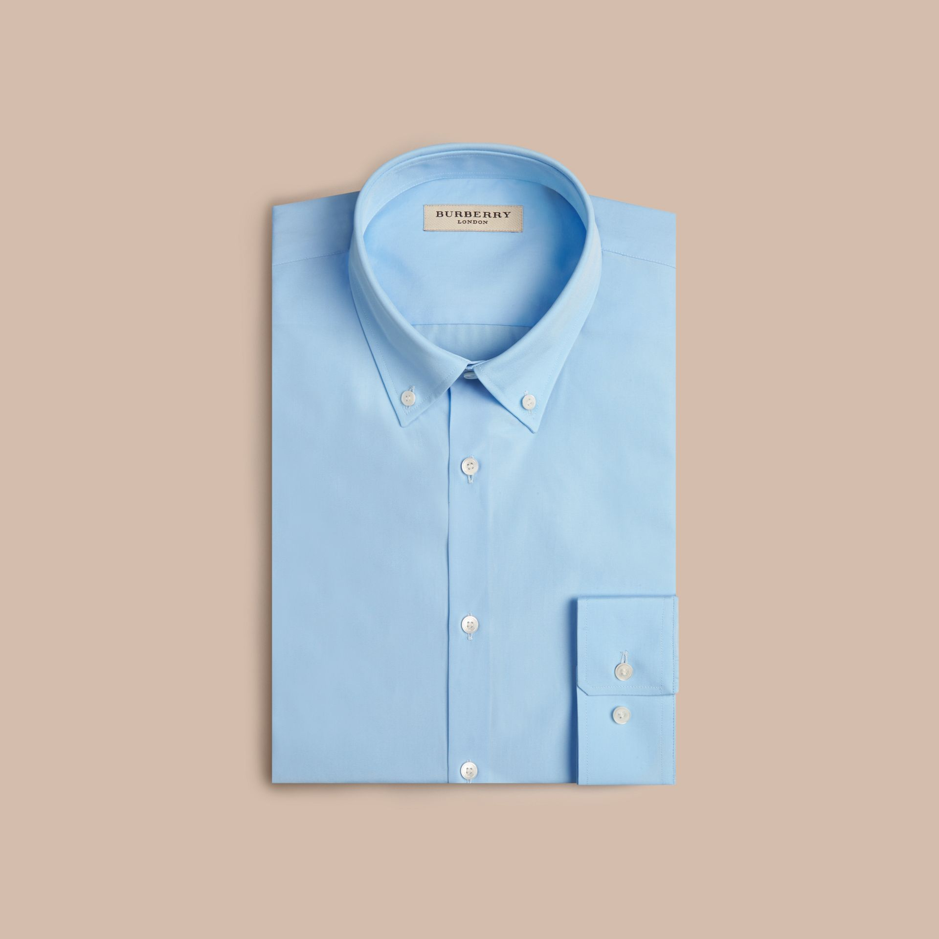City blue Modern Fit Button-down Collar Cotton Poplin Shirt City Blue - gallery image 4