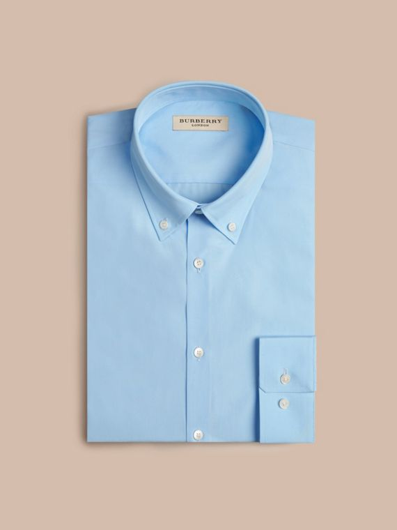 Modern Fit Button-down Collar Cotton Poplin Shirt City Blue