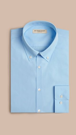 Modern Fit Button-down Collar Cotton Poplin Shirt