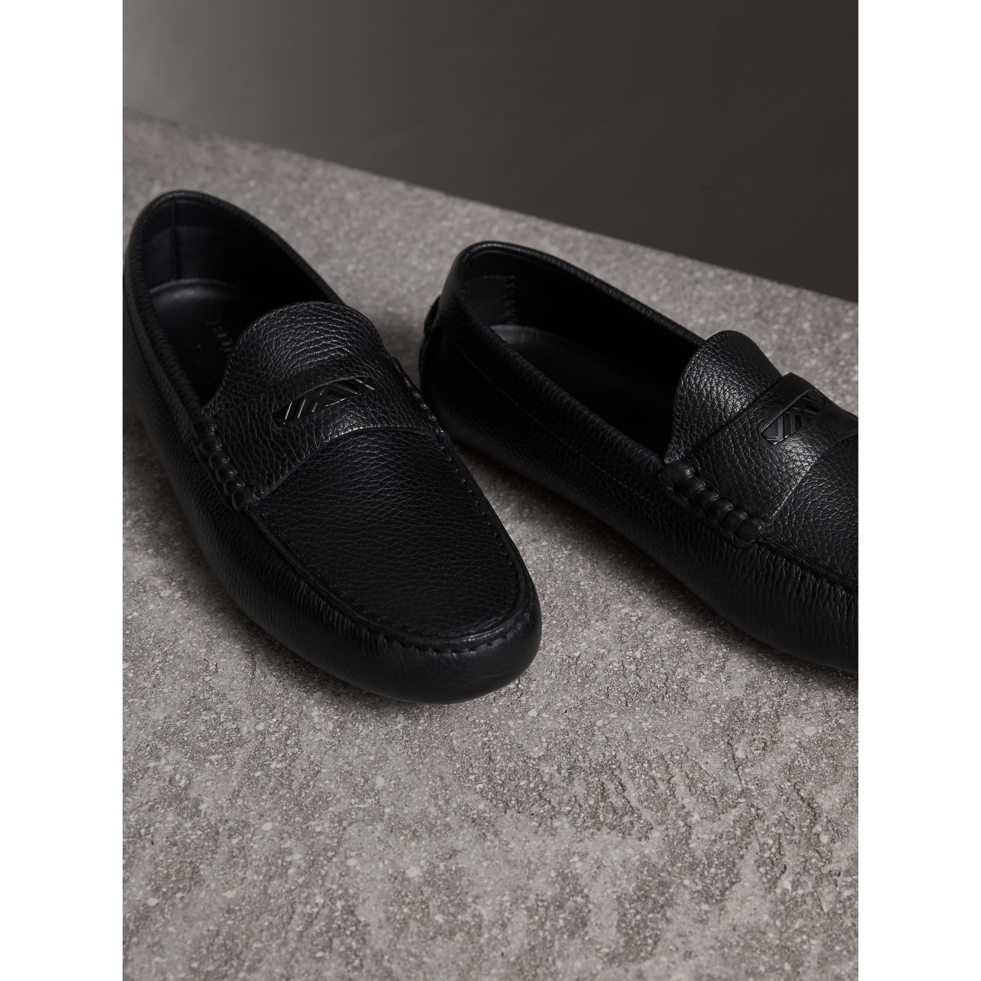 Grainy Leather Loafers with Engraved Check Detail in Black - Men | Burberry - gallery image 4