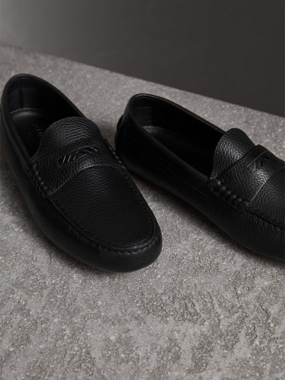 Grainy Leather Loafers with Engraved Check Detail in Black - Men | Burberry - cell image 3