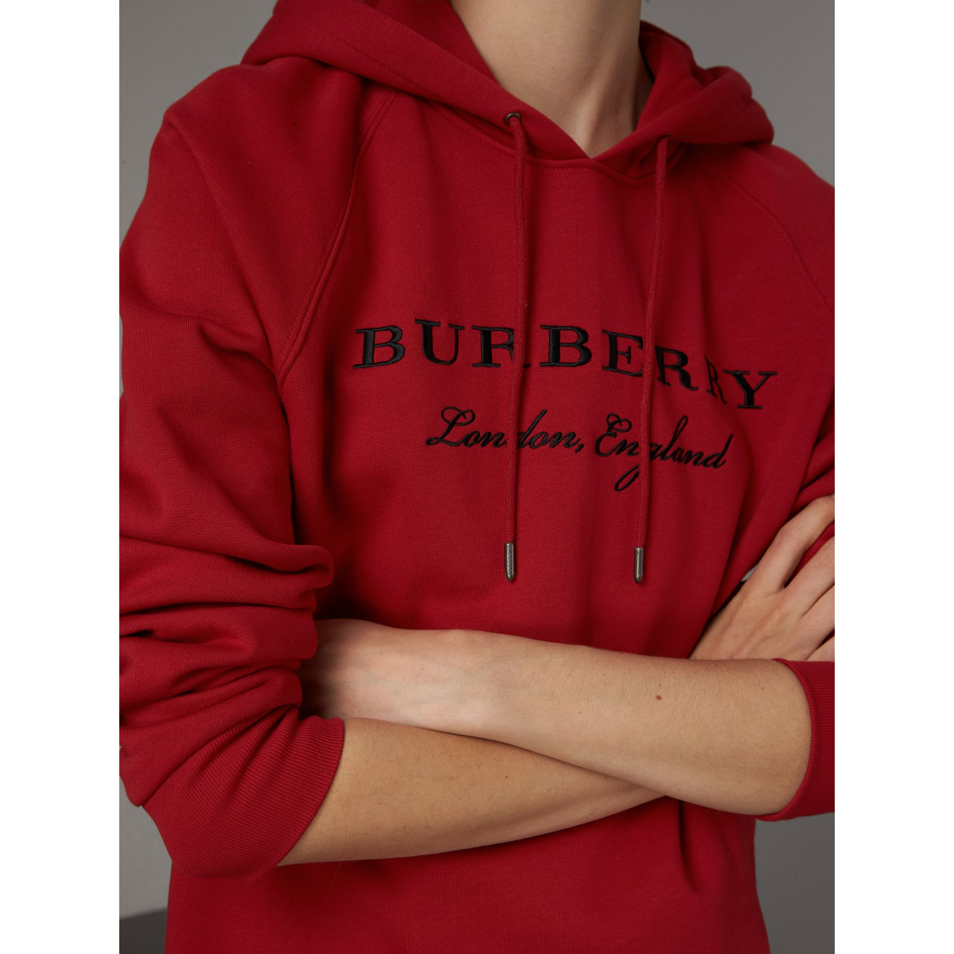 Embroidered Hooded Sweatshirt in Parade Red - Women | Burberry - gallery image 1