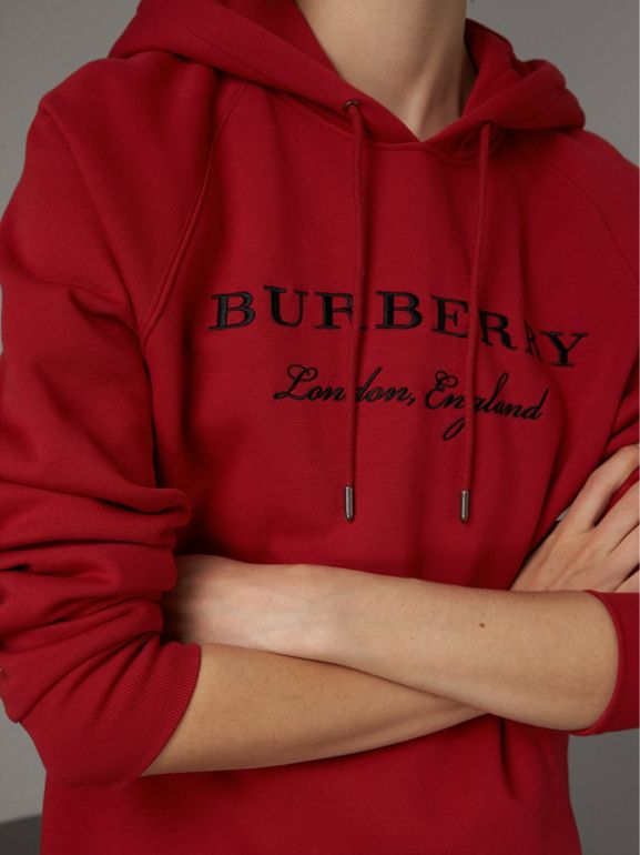 Embroidered Hooded Sweatshirt in Parade Red - Women | Burberry - cell image 1