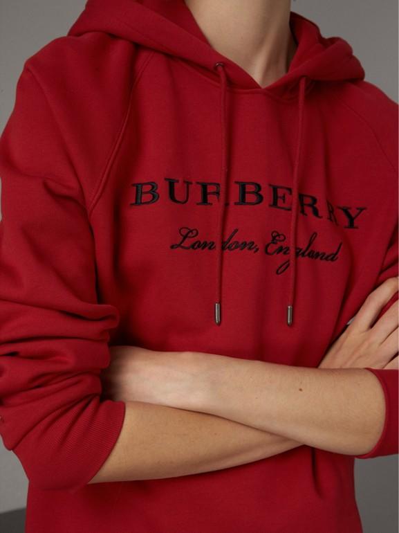 Sudadera bordada con capucha (Rojo Desfile) - Mujer | Burberry - cell image 1