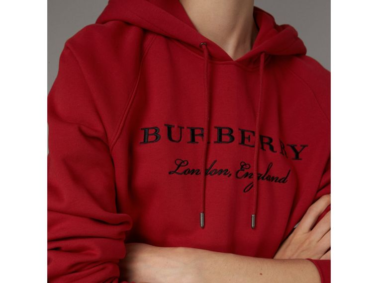 Embroidered Hooded Sweatshirt in Parade Red - Women | Burberry Canada - cell image 1