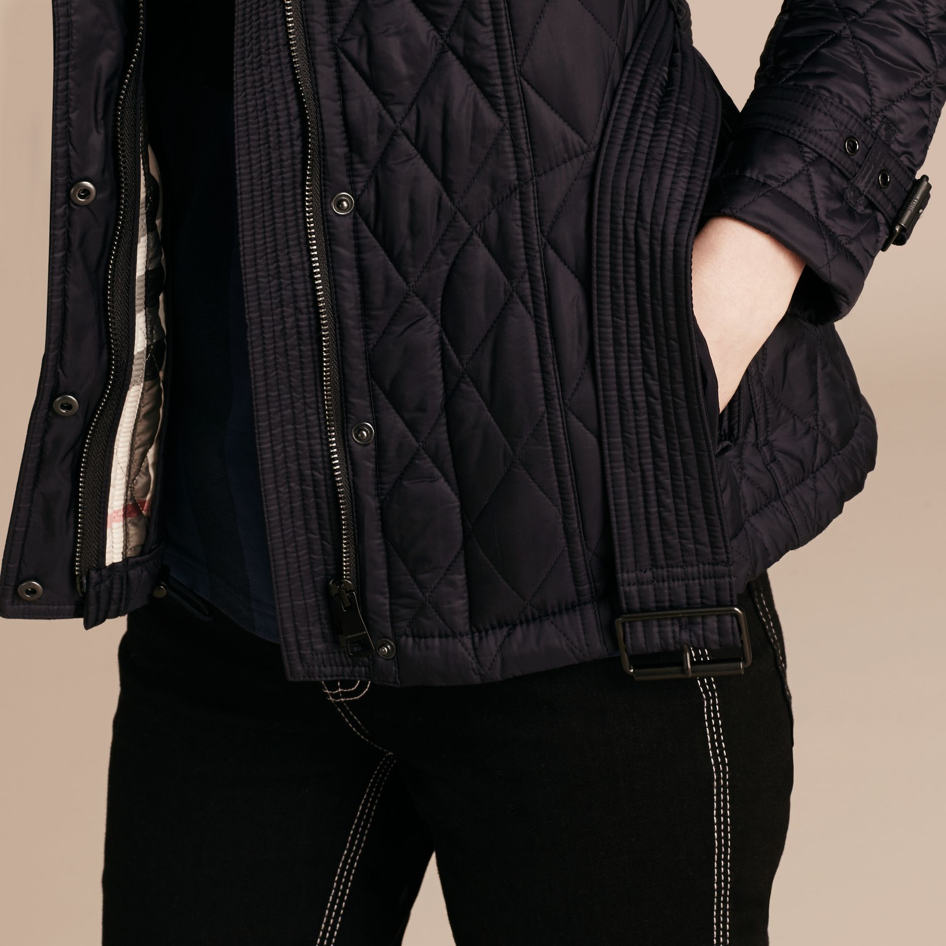 Quilted Trench Jacket with Detachable Hood in Ink - gallery image 5