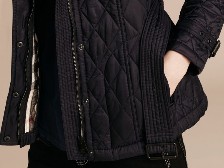 Quilted Trench Jacket with Detachable Hood in Ink - cell image 4
