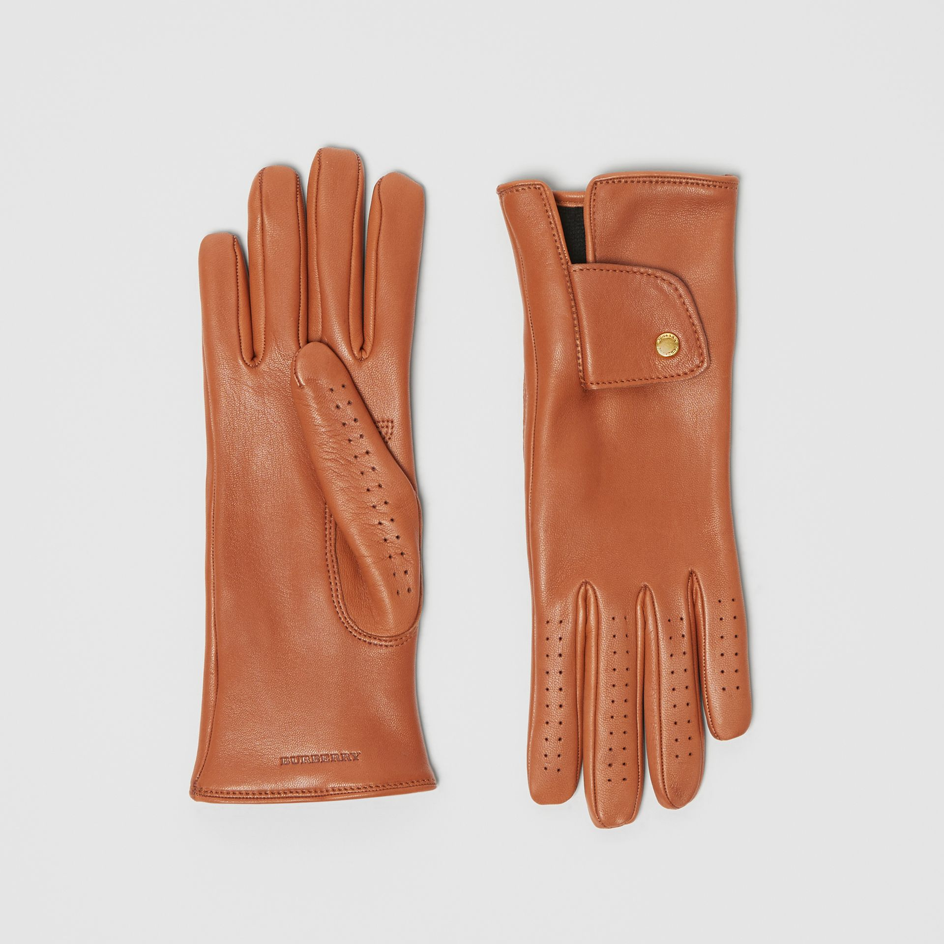 Cashmere-lined Lambskin Gloves in Tan | Burberry - gallery image 0
