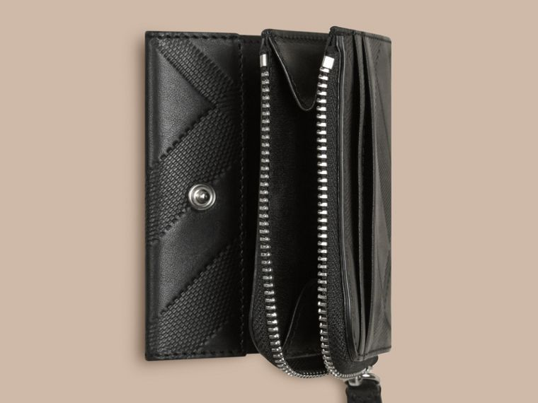 Black Embossed Check Leather Folding Wallet Black - cell image 4