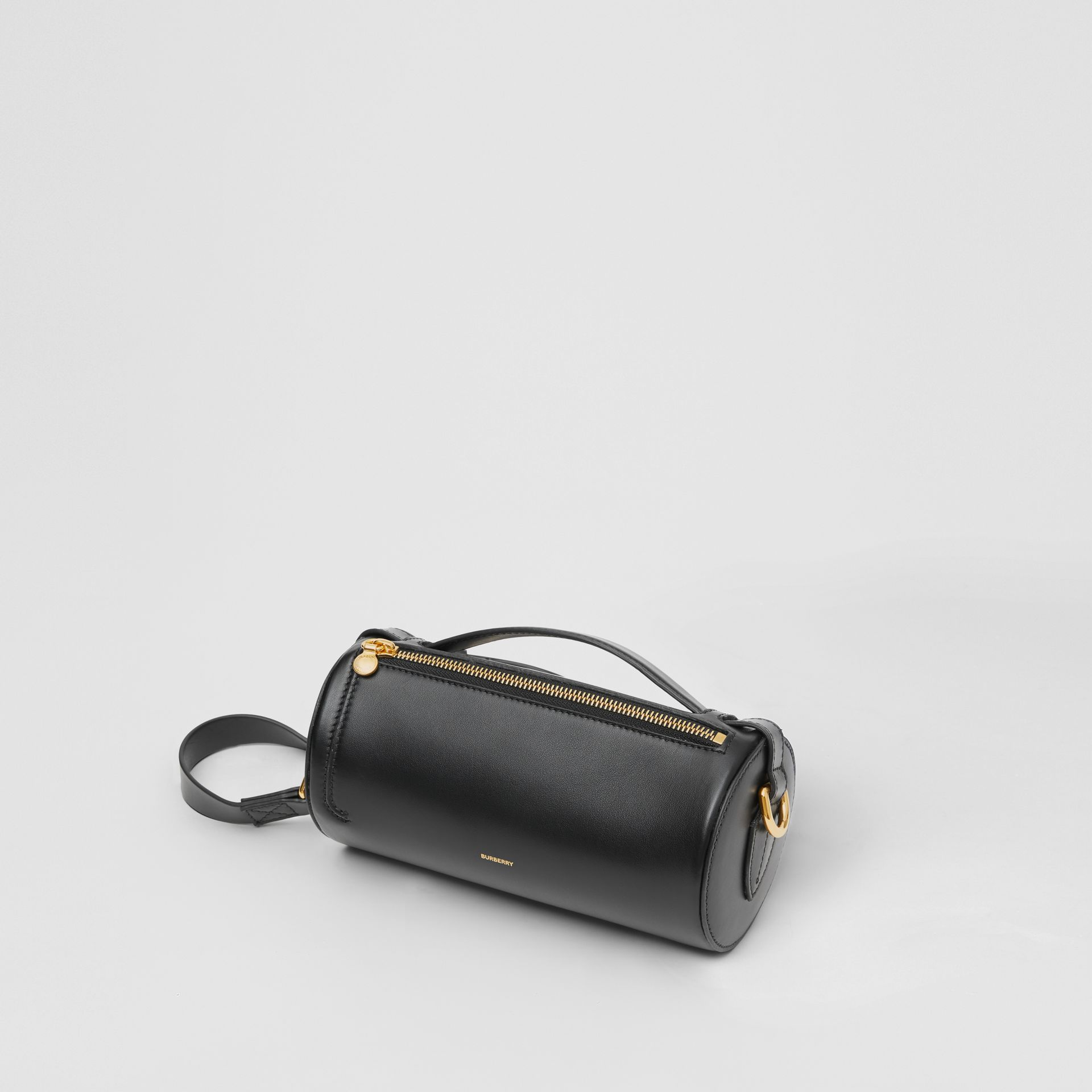 The Kingdom Motif Leather Barrel Bag in Black - Women | Burberry - gallery image 3