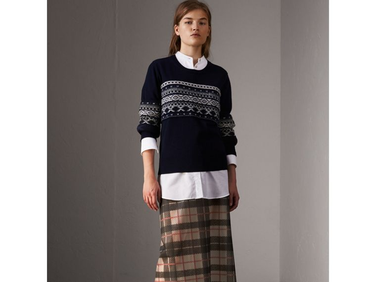 Fair Isle Detail Merino Wool Sweater in Navy - Women | Burberry - cell image 4