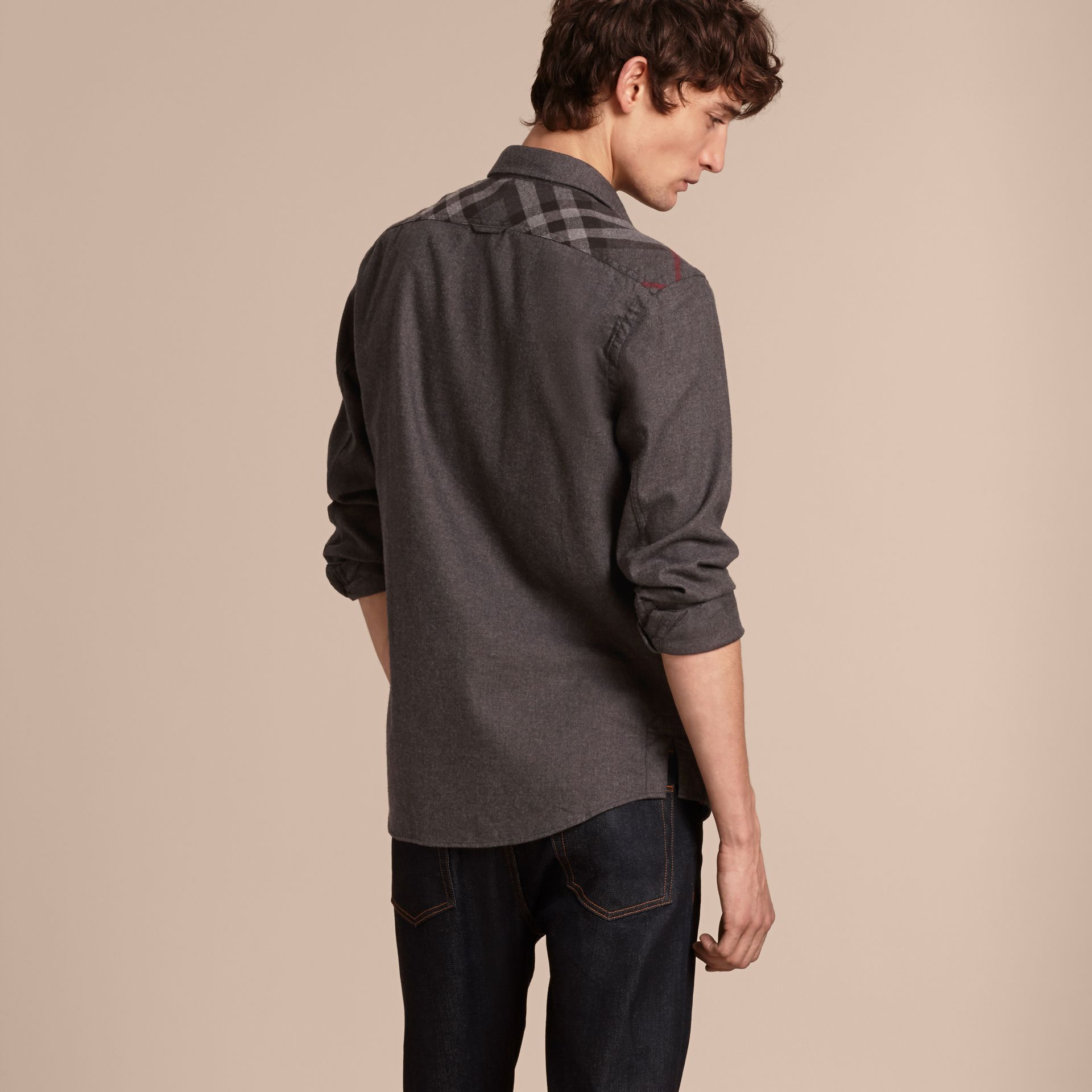 Charcoal melange Check Detail Cotton Flannel Shirt Charcoal Melange - gallery image 3