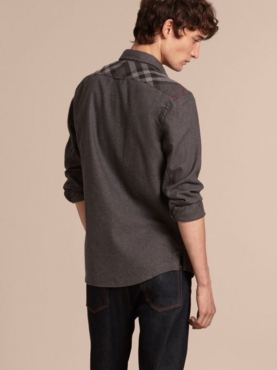 Charcoal melange Check Detail Cotton Flannel Shirt Charcoal Melange - cell image 2