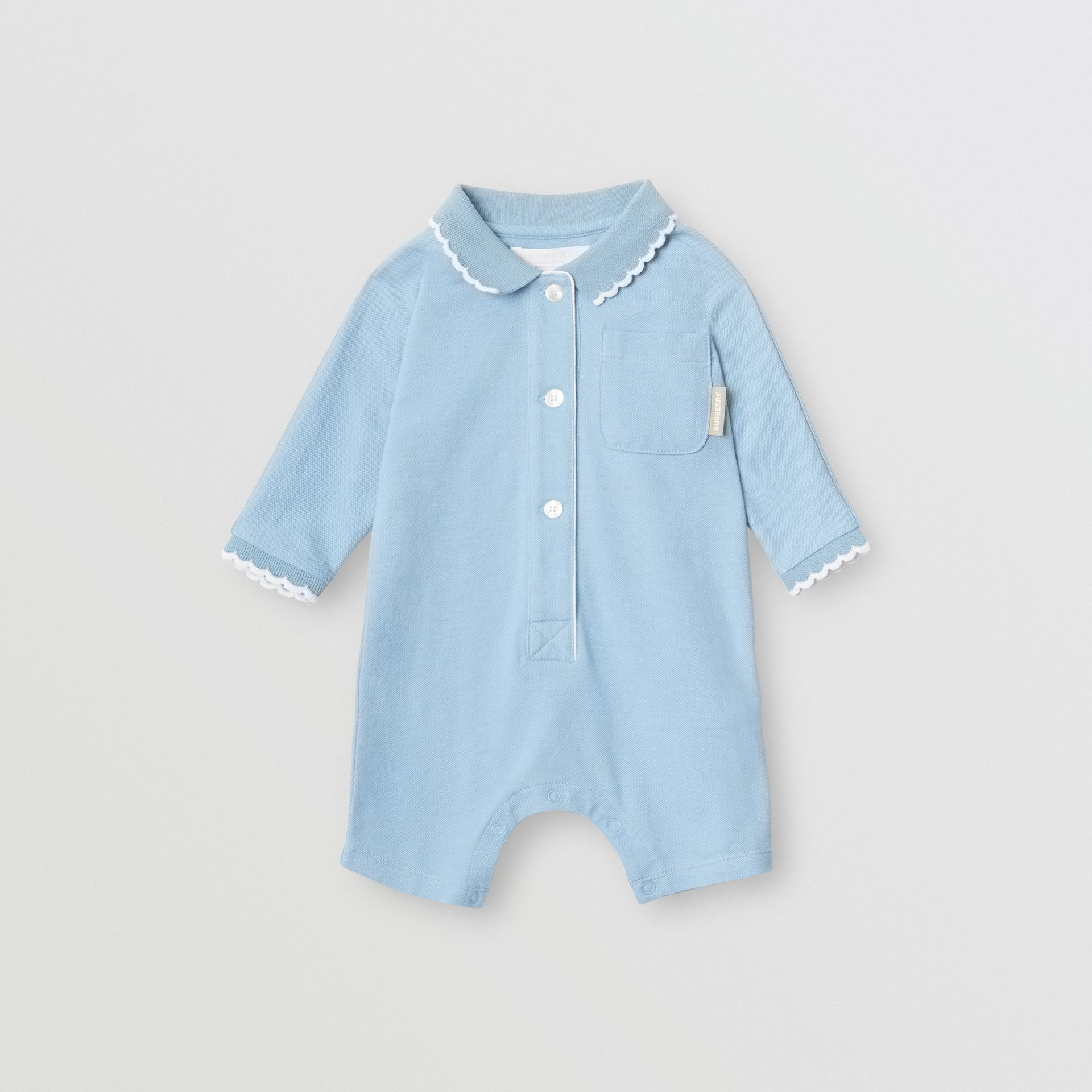 Logo Print Stretch Cotton Jumpsuit in Powder Blue - Children | Burberry - gallery image 0