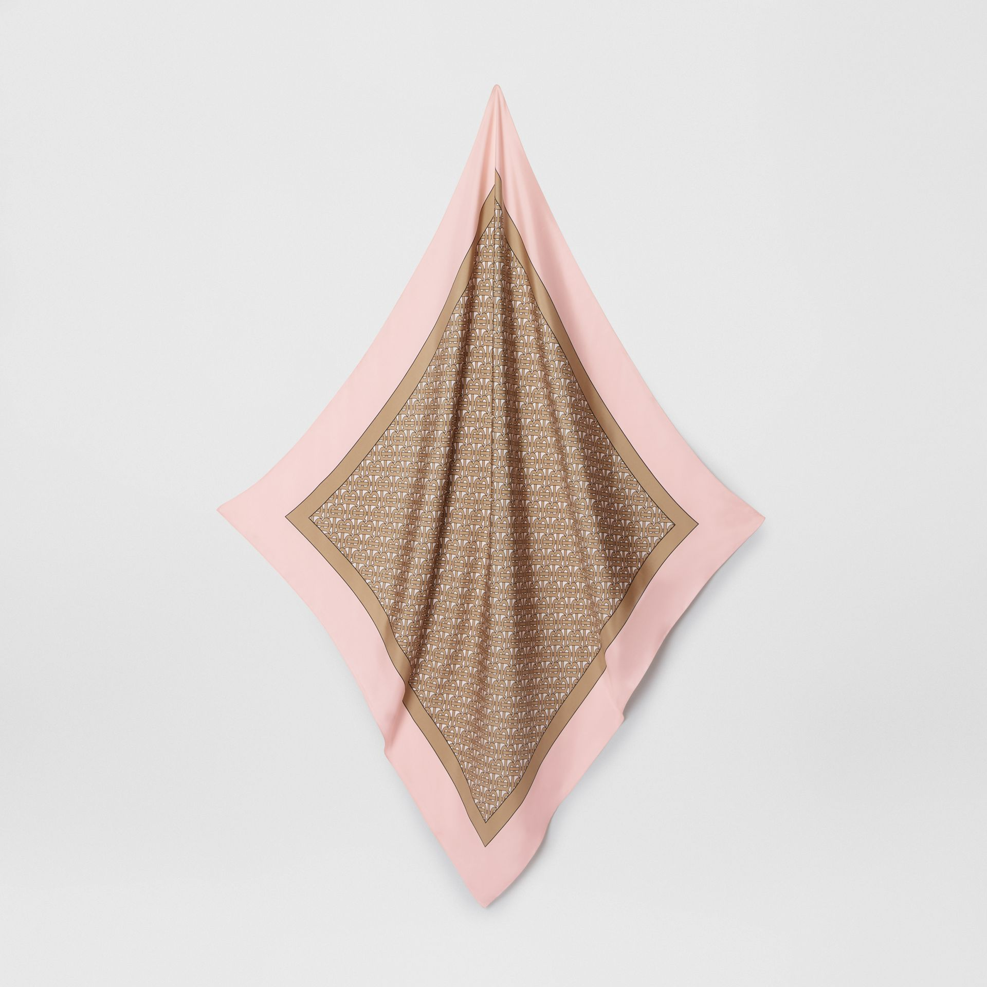 Monogram Print Silk Square Scarf in Pink - Women | Burberry - gallery image 2
