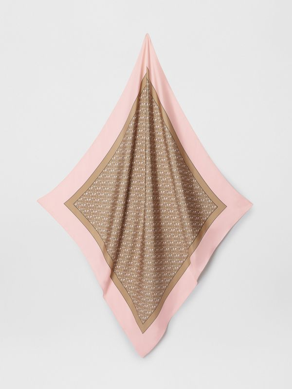 Monogram Print Silk Square Scarf in Pink - Women | Burberry - cell image 2