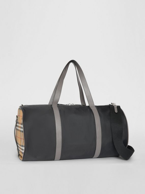 Large Nylon and Vintage Check Barrel Bag in Black