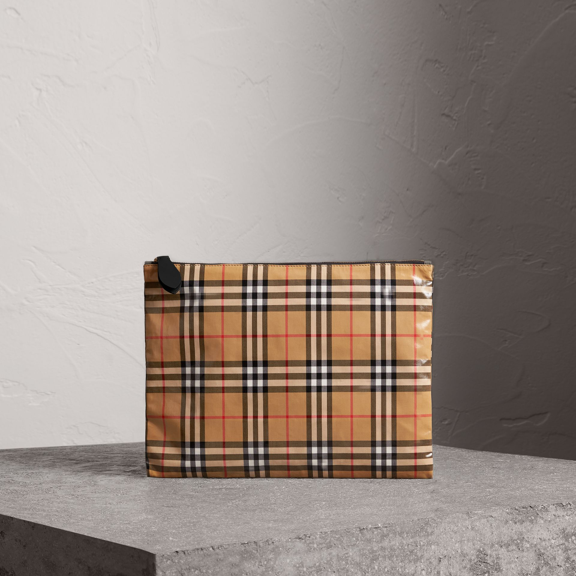 Large Coated Vintage Check Pouch in Black | Burberry Canada - gallery image 0