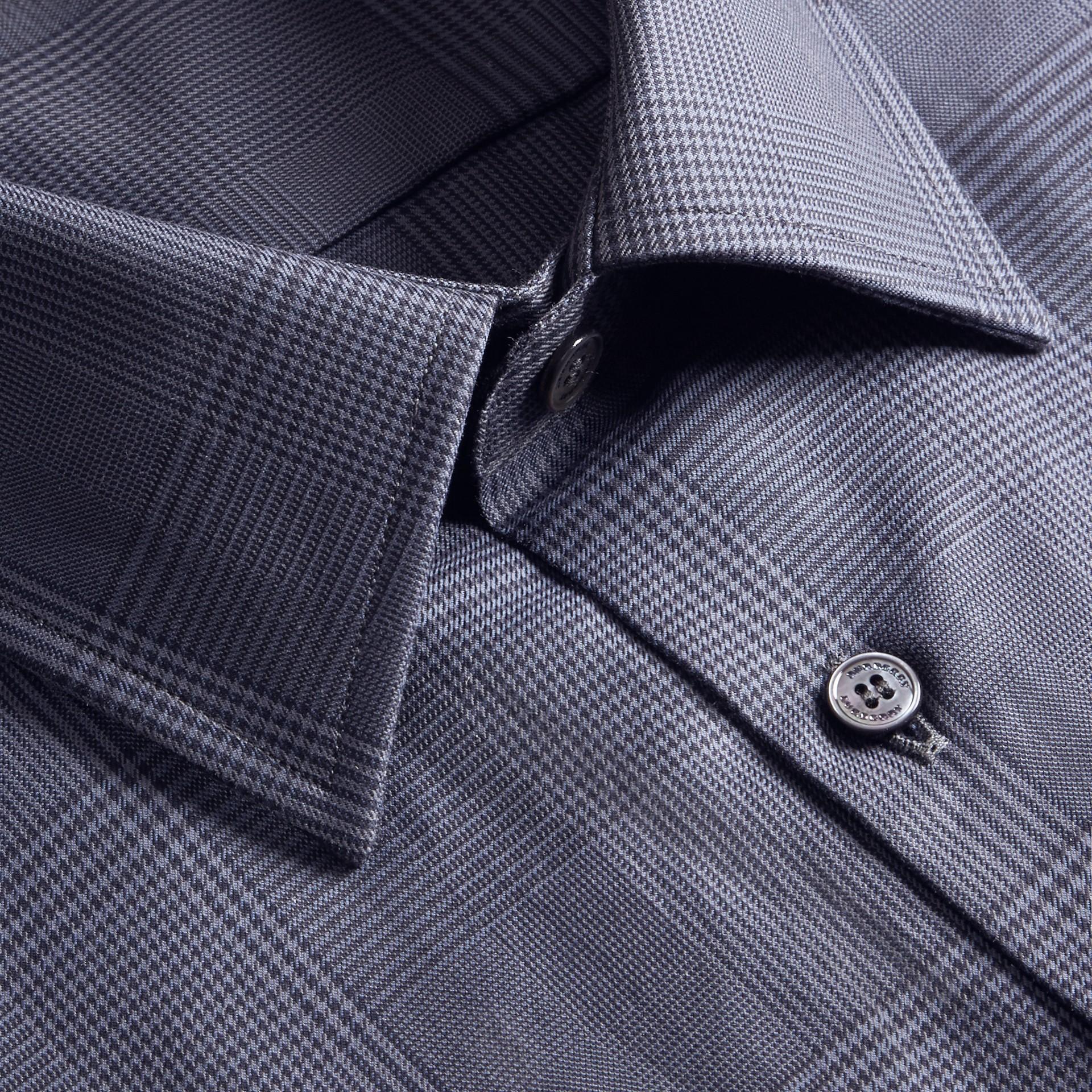 Modern Fit Check Cotton Poplin Shirt Bright Navy - gallery image 2
