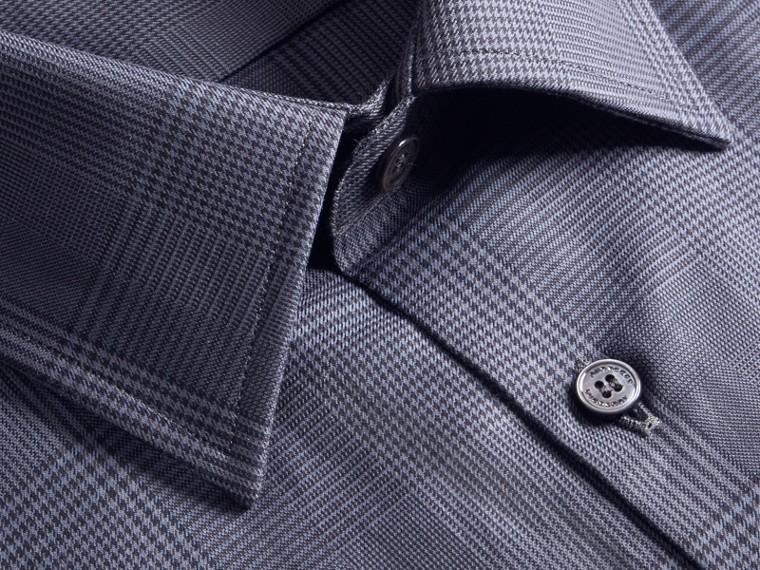 Modern Fit Check Cotton Poplin Shirt Bright Navy - cell image 1