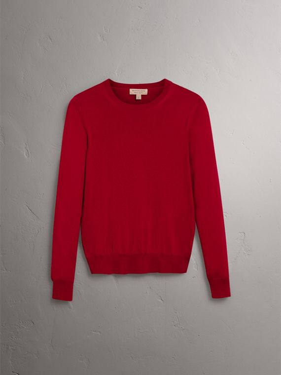Check Detail Merino Wool Sweater in Parade Red - Women | Burberry United Kingdom - cell image 3