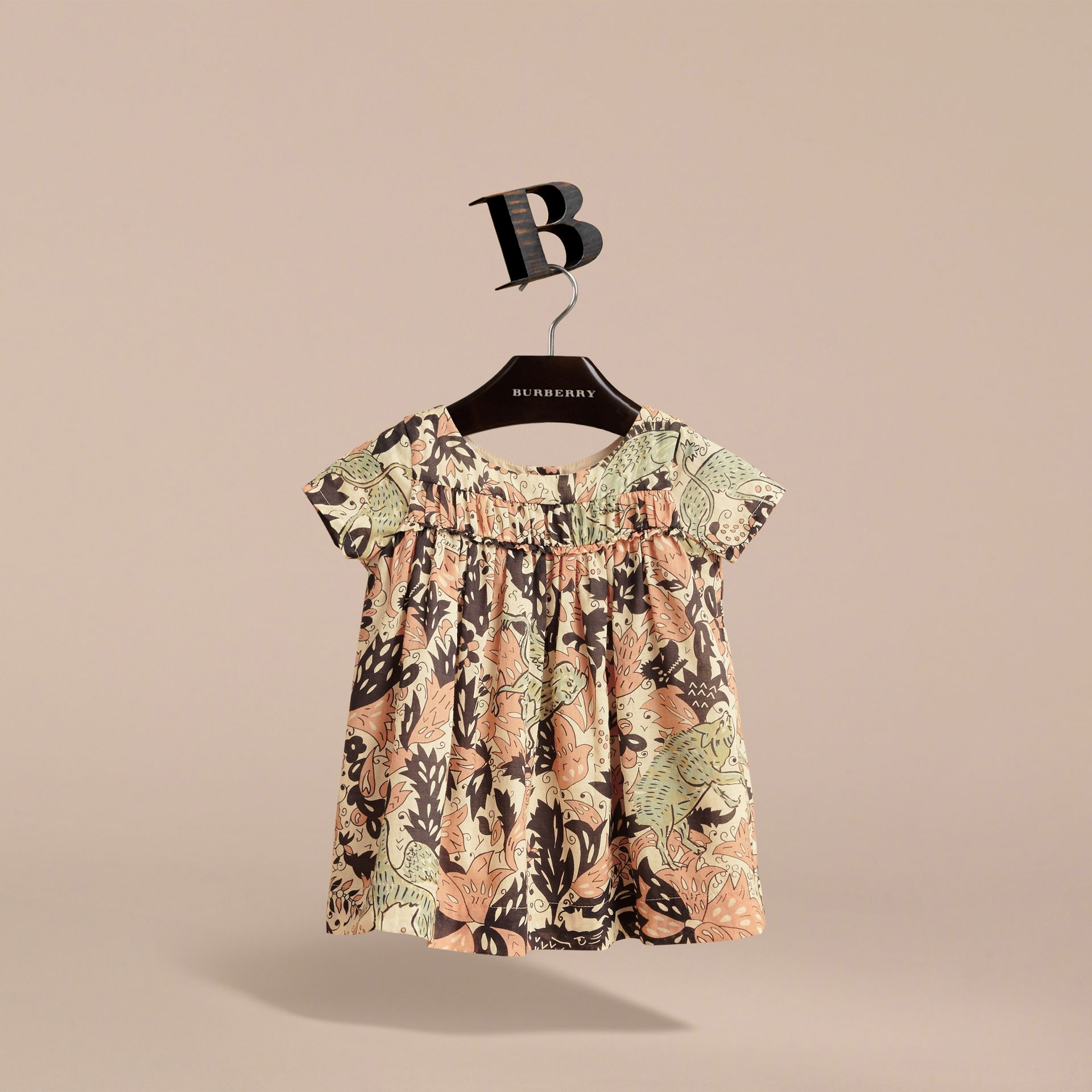 Beasts Print Cotton Smock Dress in Antique Taupe Pink | Burberry - gallery image 3