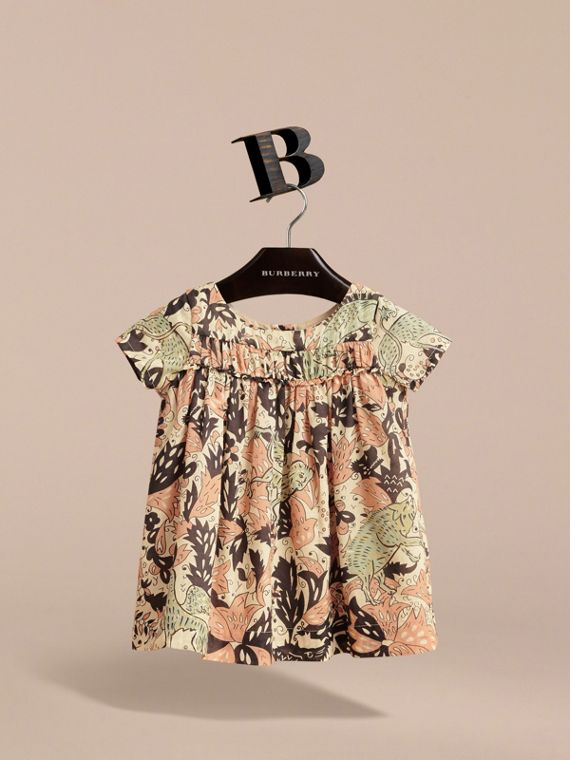 Beasts Print Cotton Smock Dress in Antique Taupe Pink | Burberry - cell image 2