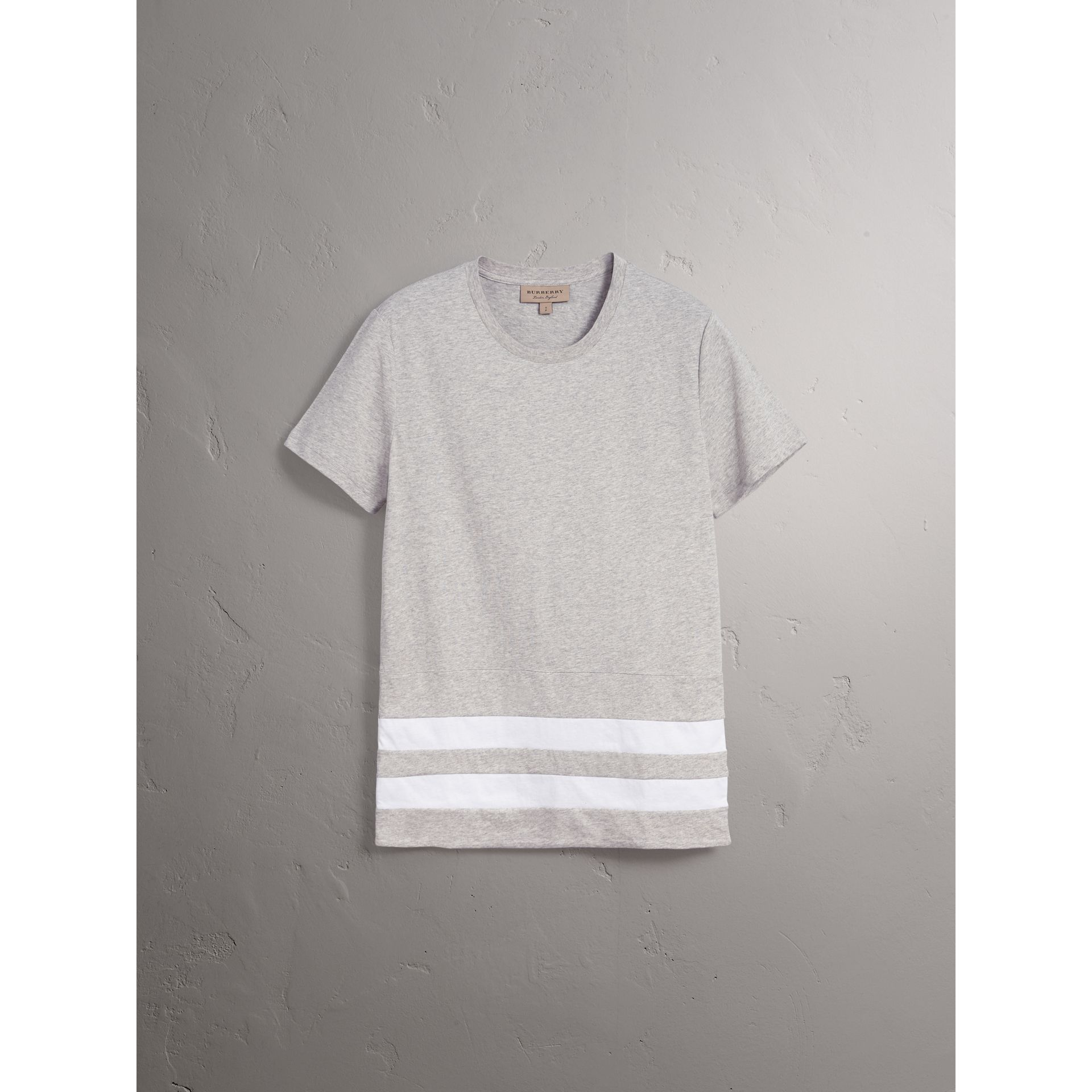 Striped Hem Cotton T-shirt in Pale Grey Melange - Men | Burberry - gallery image 4