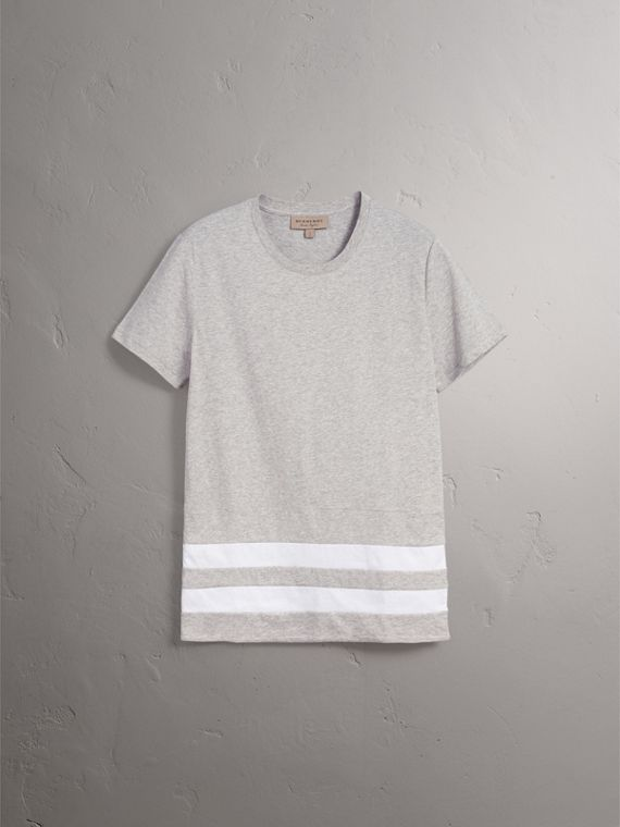 Striped Hem Cotton T-shirt in Pale Grey Melange - Men | Burberry - cell image 3