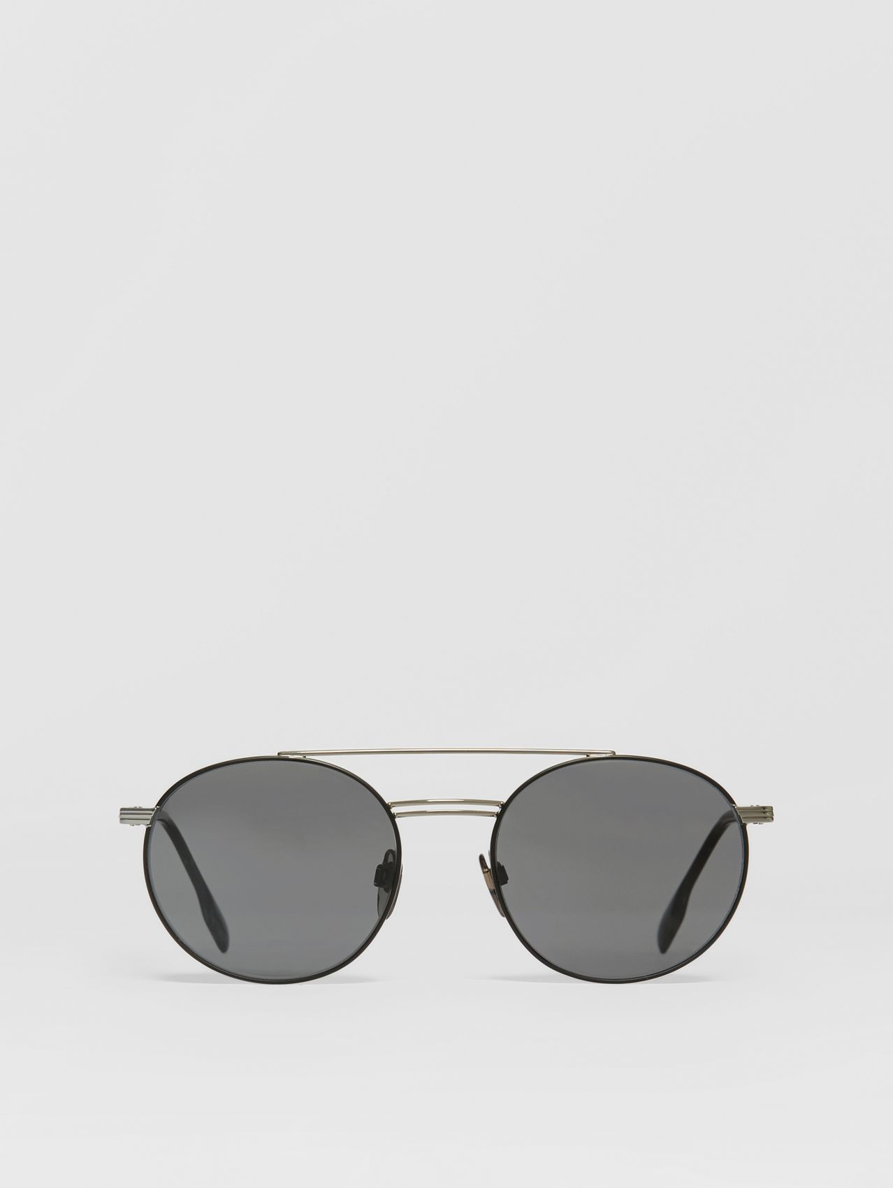 Top Bar Detail Round Frame Sunglasses in Gunmetal/dark Green