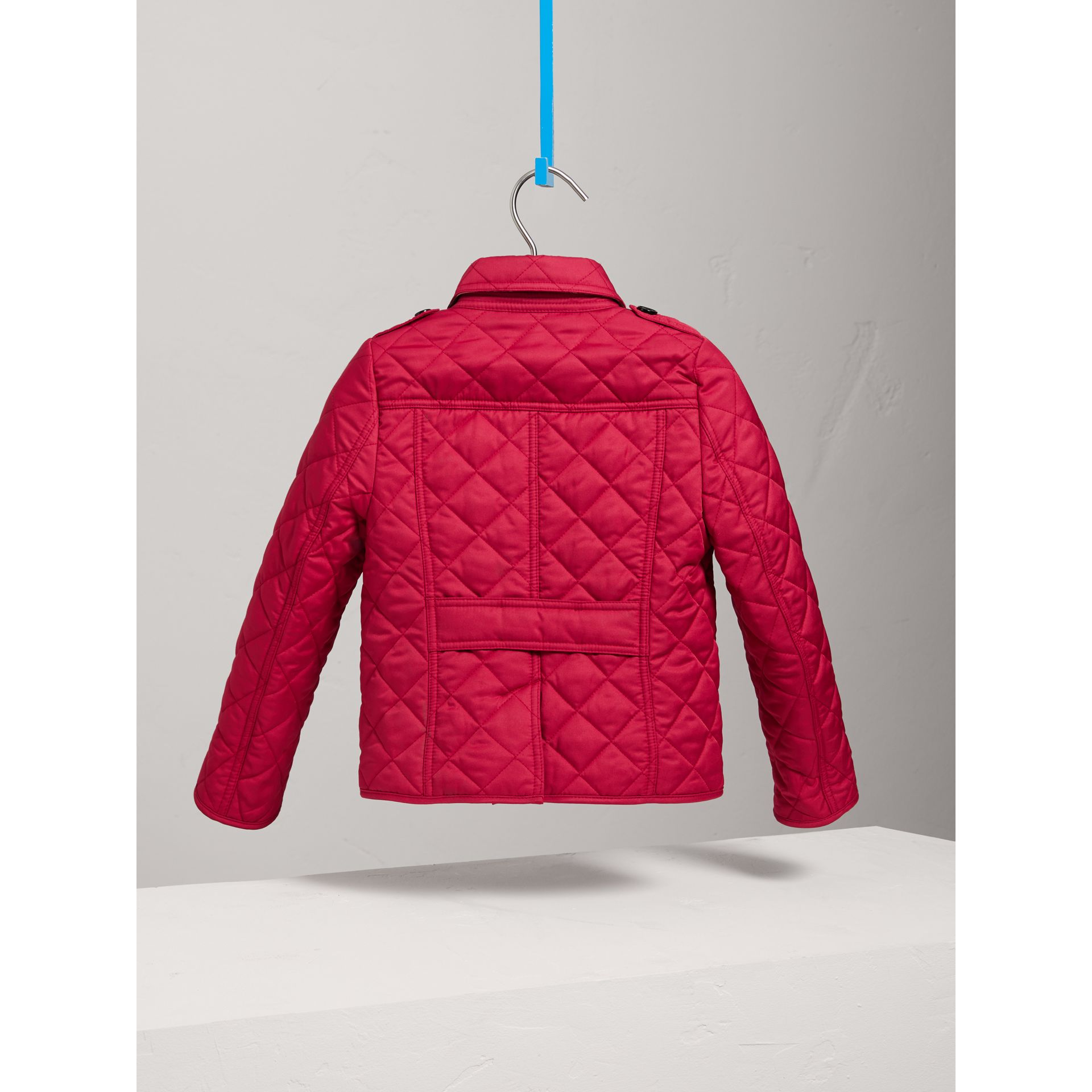 Check Lined Diamond Quilted Jacket in Crimson Pink - Girl | Burberry - gallery image 3