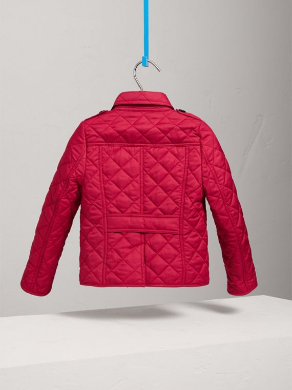 Check Lined Diamond Quilted Jacket in Crimson Pink - Girl | Burberry - cell image 3