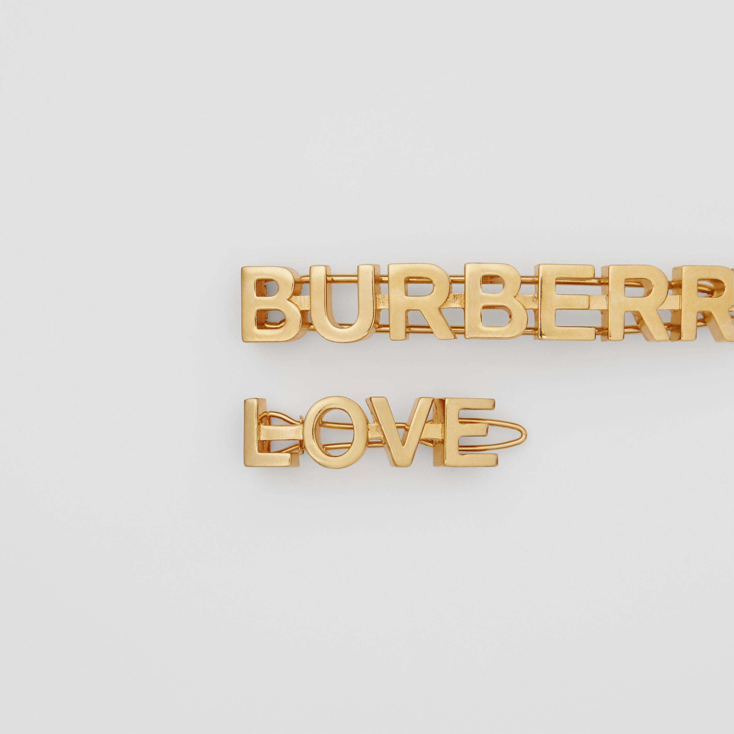 Gold-plated Logo and Love Hair Clips in Light - Women | Burberry - 2