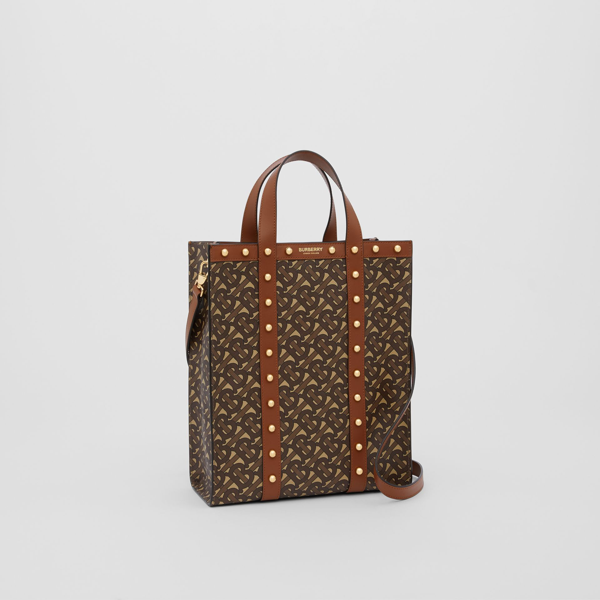 Small Monogram Print E-canvas Portrait Tote Bag in Tan - Women | Burberry - gallery image 8
