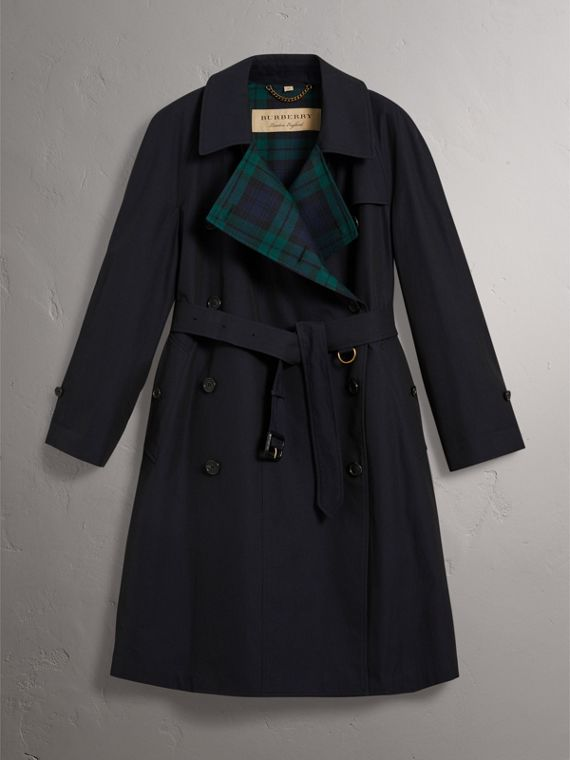 Tropical Gabardine Asymmetric Trench Coat in Blue Carbon - Women | Burberry Australia - cell image 3