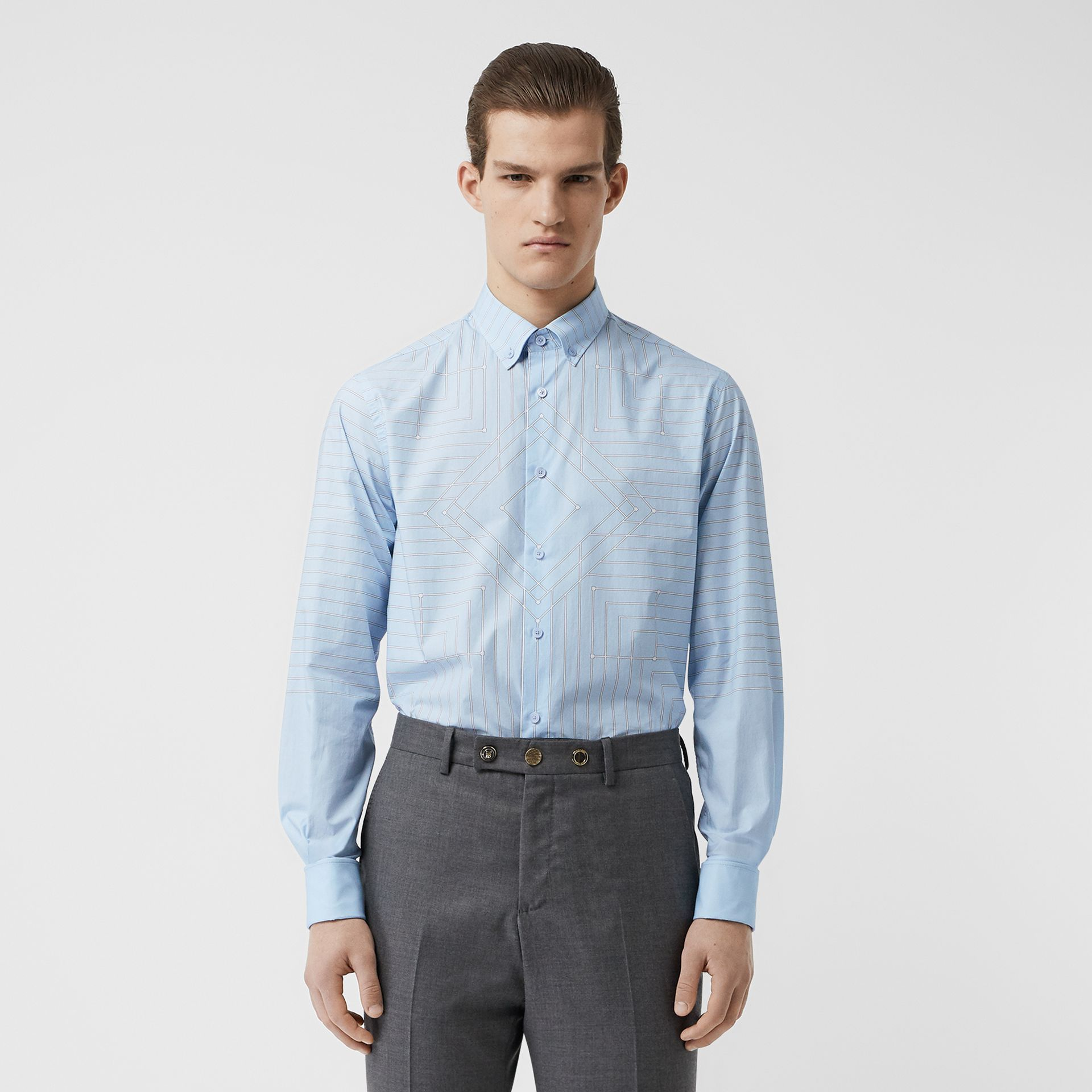 Button-down Collar Geometric Print Cotton Shirt in Pale Blue | Burberry - gallery image 4
