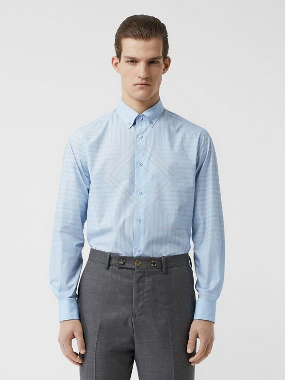 Button-down Collar Geometric Print Cotton Shirt in Pale Blue