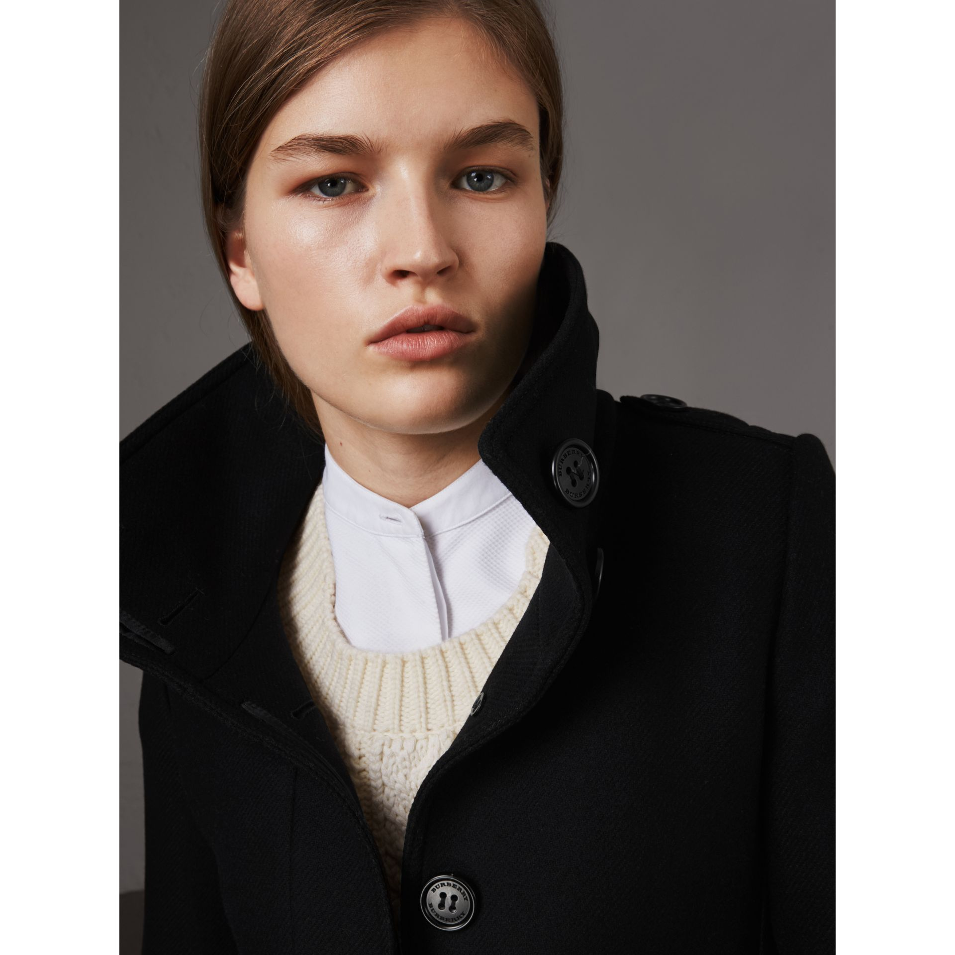 Technical Wool Cashmere Funnel Neck Coat in Black - Women | Burberry - gallery image 2