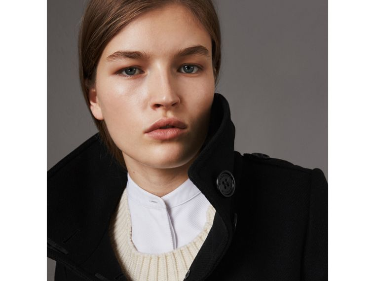 Technical Wool Cashmere Funnel Neck Coat in Black - Women | Burberry Canada - cell image 1