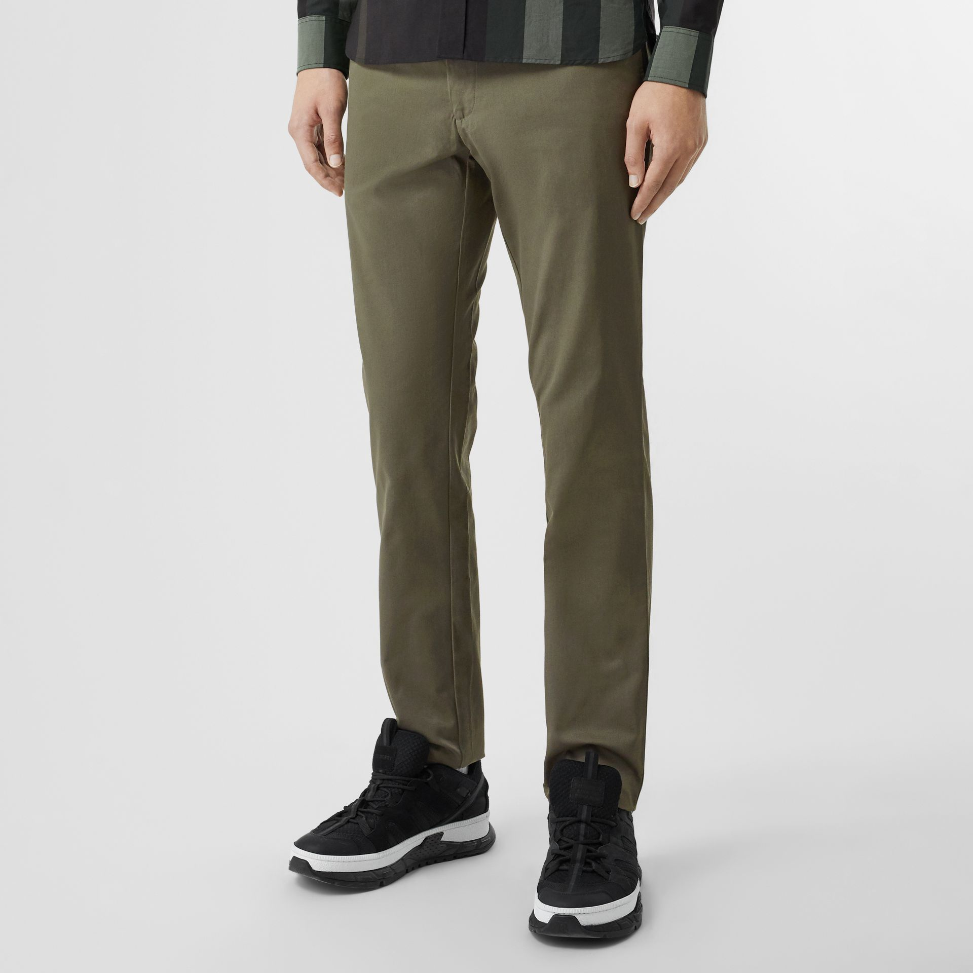 Slim Fit Cotton Chinos in Military Green - Men | Burberry - gallery image 4