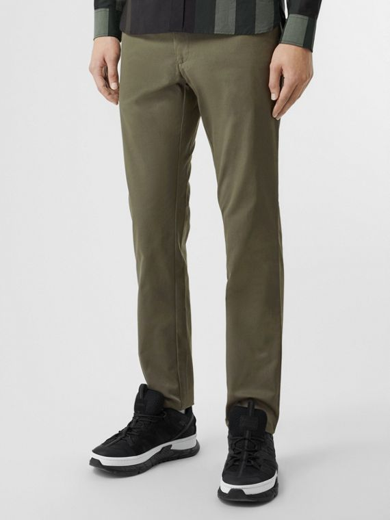 Slim Fit Cotton Chinos in Military Green