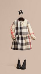 Check Cotton Dress with Ruffle Detail