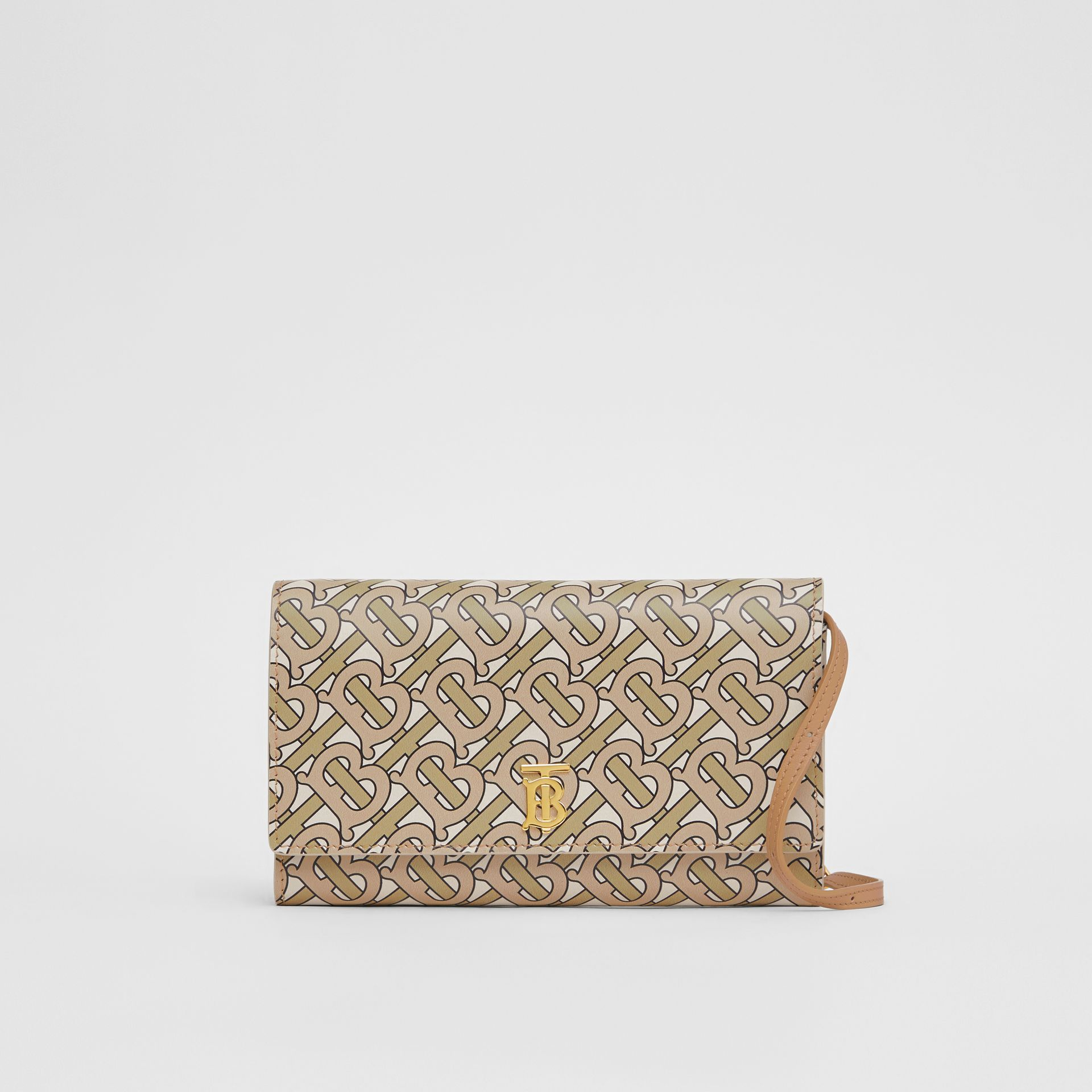 Monogram Print Leather Wallet with Detachable Strap in Beige - Women | Burberry - gallery image 0