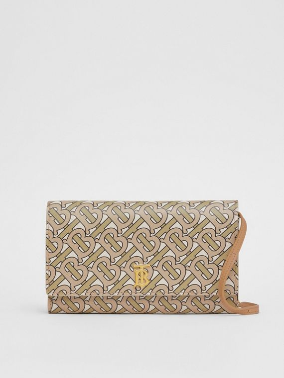 Monogram Print Leather Wallet with Detachable Strap in Beige