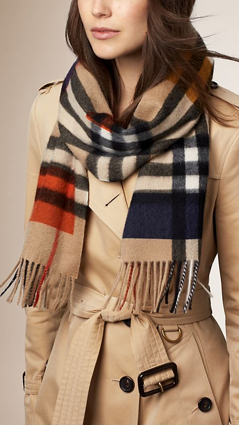 Dark camel check Colour Block Check Cashmere Scarf - Image 2