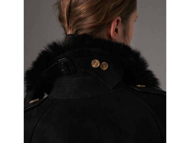 Shearling Trench Coat in Black - Women | Burberry - cell image 4