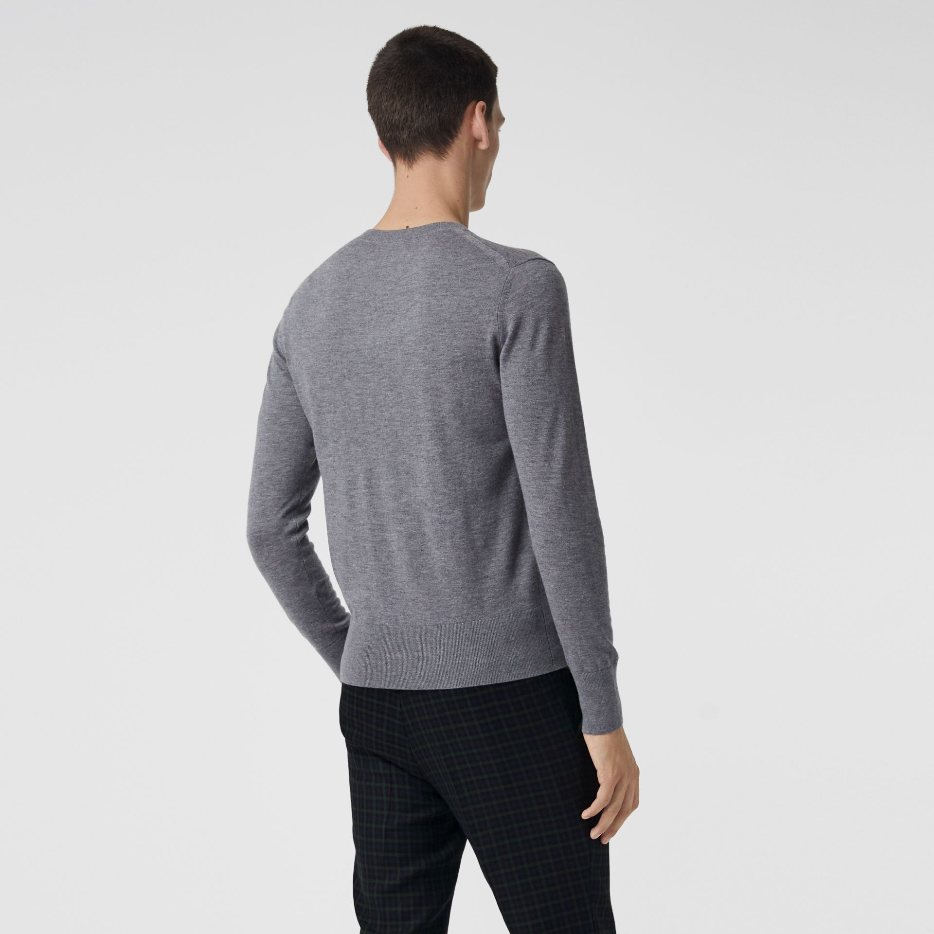 Crew Neck Cashmere Sweater in Pale Grey Melange - Men | Burberry Canada - gallery image 2