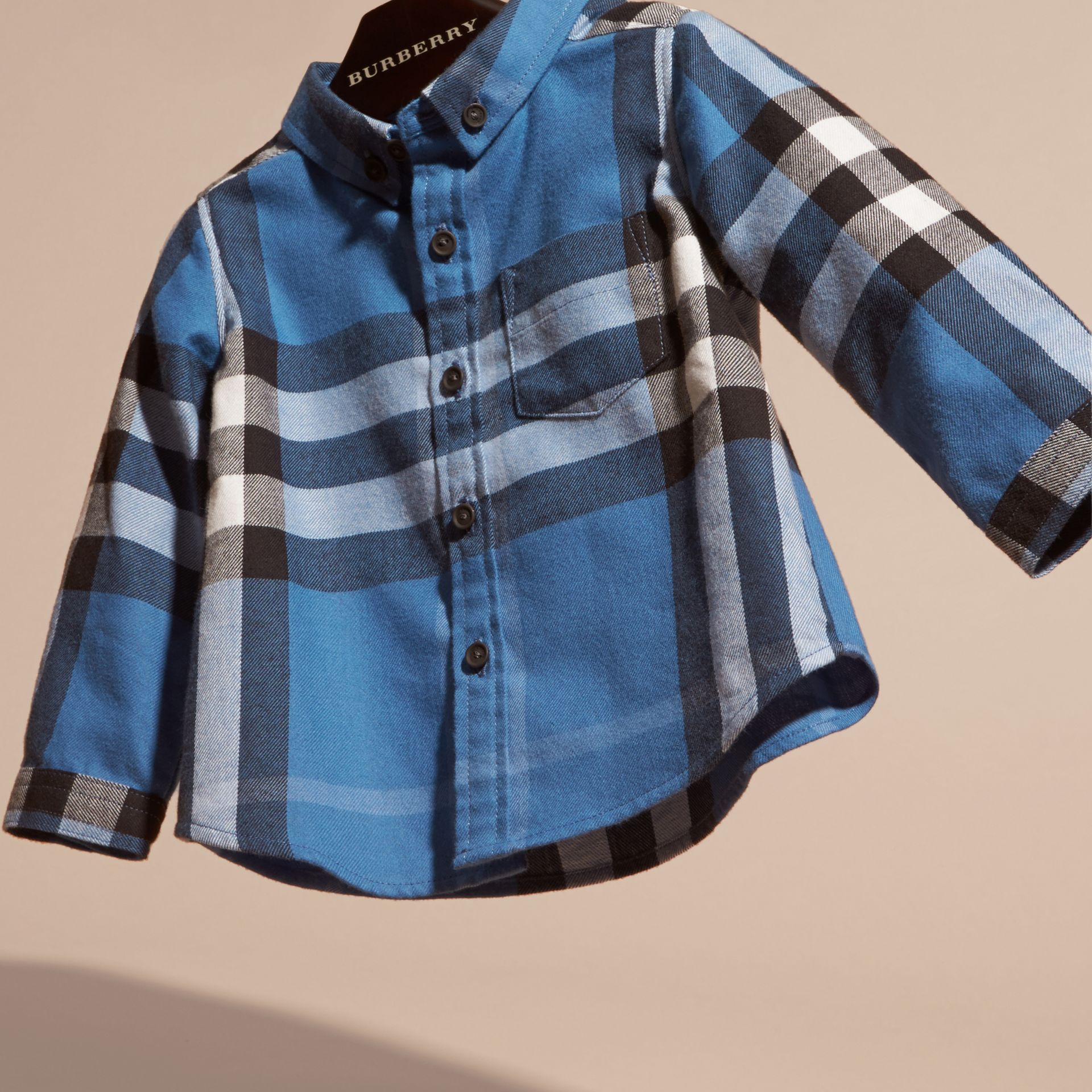 Bright steel blue Check Cotton Flannel Shirt - gallery image 3